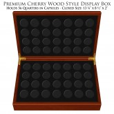 Deluxe Heirloom Cherry Wood Style Coin Presentation 56-Coin Display Box – Holds Any Coin Capsule with Outside Dimension of 1.25 Inches (24MM)