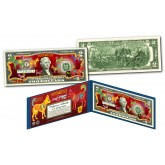 2018 Chinese New Year * YEAR OF THE DOG * POLYCHROMATIC 8 COLORIZED DOG'S Genuine Legal Tender U.S. $2 BILL - $2 Lucky Money with Blue Folio
