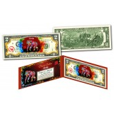 Chinese ZODIAC Genuine U.S. $2 Bill Red Polychrome Blast * YEAR of the MONKEY * NEW