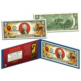Chinese Zodiac - YEAR OF THE GOAT / SHEEP - Colorized $2 Bill U.S. Legal Tender Currency