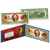 Chinese Zodiac - YEAR OF THE TIGER - Colorized $2 Bill U.S. Legal Tender Currency