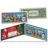 MERRY CHRISTMAS Keepsake Gift Colorized $1 Bill U.S. Legal Tender - SANTA & SNOWMAN