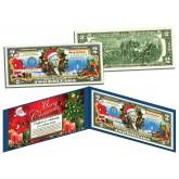 MERRY CHRISTMAS Keepsake Gift Colorized $2 Bill U.S. Legal Tender - SANTA & SLEIGH