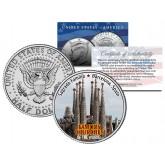 SAGRADA FAMILIA - Famous Churches - Colorized JFK Half Dollar U.S. Coin Barcelona Spain