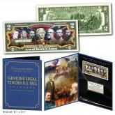 American Civil War CONFEDERATE GENERALS Genuine Legal Tender U.S. $2 Bill in Large Collectors Folio Display
