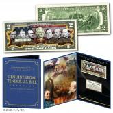 American Civil War UNION GENERALS Genuine Legal Tender U.S. $2 Bill in Large Collectors Folio Display