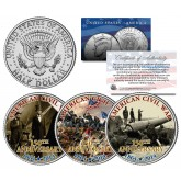 AMERICAN CIVIL WAR - 150th Anniversary - 1864-2014 JFK Kennedy Half Dollar US 3-Coin Set