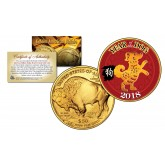 2018 Chinese New Year * YEAR OF THE DOG * 24 Karat Gold Plated $50 American Gold Buffalo Indian Tribute Coin