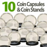 10 Coin Capsules & 10 Coin Stands for MORGAN / PEACE / IKE DOLLARS - Direct Fit Airtight 38mm Holders
