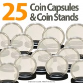 25 Coin Capsules & 25 Coin Stands for PRESIDENTIAL $1 / SACAGAWEA / SBA - Direct Fit Airtight 26mm Holders