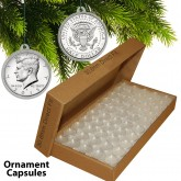 25 Direct Fit Airtight 30.6mm CHRISTMAS ORNAMENT Coin Holders Capsules For JFK HALF DOLLARS