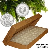 250 Direct Fit Airtight 40.6mm CHRISTMAS ORNAMENT Coin Holders Capsule Holders For SILVER EAGLE Oz