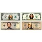 Set of 4 - COLORIZED 2-SIDED U.S. Bills Currency $1 / $2 / $5 / $10 Genuine Legal Tender