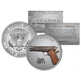 COLT 1911 Gun Firearm JFK Kennedy Half Dollar US Colorized Coin
