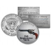 COLT SINGLE-ACTION 1873 Gun Firearm JFK Kennedy Half Dollar US Colorized Coin