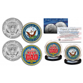 FATHERS DAY 2016 United States Armed Forces Military 2-Coin U.S. JFK Kennedy Half Dollar Set - NAVY