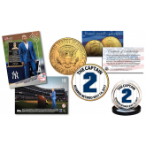 DEREK JETER Retirement Issue - TOPPS NOW Monument Park Trading Card with EXCLUSIVE #2 Yankees Pinstripe Captain 24K Gold Plated JFK Half Dollar U.S. Coin