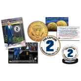 DEREK JETER Retirement Issue - TOPPS NOW Retired #2 Trading Card with EXCLUSIVE #2 Yankees Pinstripe Captain 24K Gold Plated JFK Half Dollar U.S. Coin