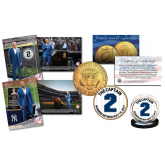 DEREK JETER Retirement Issue - BOTH Sold Out TOPPS NOW Trading Cards with EXCLUSIVE #2 Yankees Pinstripe Captain 24K Gold Plated JFK Half Dollar U.S. Coin
