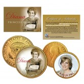 PRINCESS DIANA - 50th Birthday - British Half Penny & JFK Half Dollar 2-Coin Set 24K Gold Plated