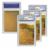 DONALD TRUMP 45th President 23K GOLD Sculpted Card SIGNATURE KAG 2020 Edition - GRADED GEM MINT 10 (Lot of 3)