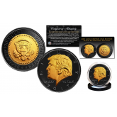 Donald Trump 45th President of the United States BLACK RUTHENIUM & 24K GOLD Clad OFFICIAL Tribute Coin