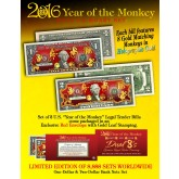 2016 YEAR OF THE MONKEY $1 & $2 Chinese New Year Lucky Money Set - DUAL 8's GOLD MATCHING MONKEY's Packaged in EXCLUSIVE Premium RED LUNAR ENVELOPE – Limited Edition of 8,888 Sets Worldwide *SOLD OUT*