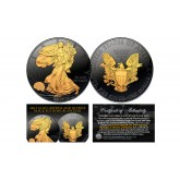 Black RUTHENIUM 1 Oz .999 Fine Silver 2016 American Eagle U.S. Coin with 2-Sided 24K Gold clad