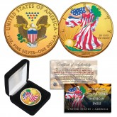 Dual 24K GOLD GILDED & COLORIZED 2-Sided 1 Troy Oz. 2019 Silver Eagle U.S. Coin with Deluxe Felt Display Box