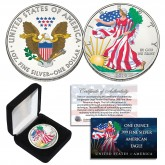 2019 1 oz Colorized 2-Sided American Silver Eagle Coin (BU) with BOX & COA