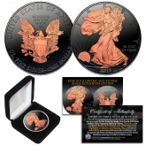 Black RUTHENIUM 1 Oz .999 Fine Silver 2019 American Eagle U.S. Coin with 2-Sided 24K ROSE Gold clad and Deluxe Felt Display Box