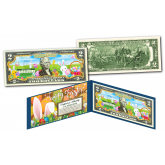 HAPPY EASTER Bunnies Holiday Colorized Legal Tender U.S. $2 Bill with Certificate and Folio