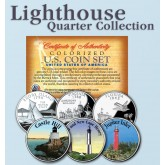 Historic American - LIGHTHOUSES - Colorized US Statehood Quarters 3-Coin Set #9 - Castle Hill (RI) Old & New Cape Henry (VA) Jupiter Inlet (FL)