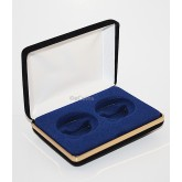 Lot of 5 Black/Blue Felt COIN DISPLAY GIFT METAL BOX holds 2-IKE or Silver Eagle
