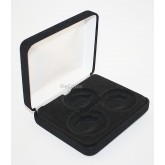 Black Felt COIN DISPLAY GIFT METAL PLUSH BOX holds 3-IKE or Silver Eagle SQUARE