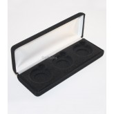 Black Felt COIN DISPLAY GIFT METAL DELUXE PLUSH BOX holds 3-Half Dollars U.S.