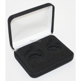 Black Felt COIN DISPLAY GIFT METAL PLUSH BOX for 1-Quarter plus 1-Half Dollar