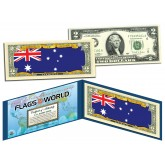 AUSTRALIA - Official Flags of the World Genuine Legal Tender U.S. $2 Two-Dollar Bill Currency Bank Note