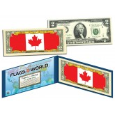 CANADA - Official Flags of the World Genuine Legal Tender U.S. $2 Two-Dollar Bill Currency Bank Note