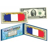 FRANCE - Official Flags of the World Genuine Legal Tender U.S. $2 Two-Dollar Bill Currency Bank Note