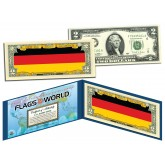GERMANY - Official Flags of the World Genuine Legal Tender U.S. $2 Two-Dollar Bill Currency Bank Note