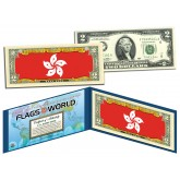 HONG KONG - Official Flags of the World Genuine Legal Tender U.S. $2 Two-Dollar Bill Currency Bank Note