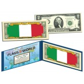 ITALY - Official Flags of the World Genuine Legal Tender U.S. $2 Two-Dollar Bill Currency Bank Note
