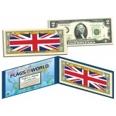 UNITED KINGDOM - Official Flags of the World Genuine Legal Tender U.S. $2 Two-Dollar Bill Currency Bank Note