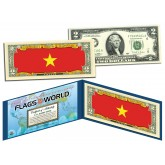 VIETNAM - Official Flags of the World Genuine Legal Tender U.S. $2 Two-Dollar Bill Currency Bank Note