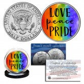 LGBT PRIDE Rainbow Love Peace Genuine Legal Tender JFK Half Dollar U.S. Coin