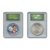 DONALD TRUMP 45th President of the United States 2016 Colorized 1 oz. U.S. AMERICAN SILVER EAGLE in SPECIAL HOLDER