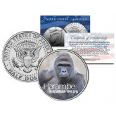 HARAMBE (1999-2016) Cincinnati Zoo Gorilla in Memoriam Colorized 2016 JFK Kennedy Half Dollar U.S. Coin