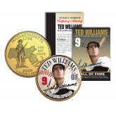 TED WILLIAMS - Hall of Fame - Legends Colorized Massachusetts State Quarter 24K Gold Plated Coin