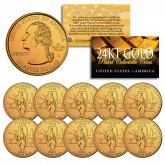 2003 Illinois State Quarters U.S. Mint BU Coins 24K GOLD PLATED (Quantity 10)